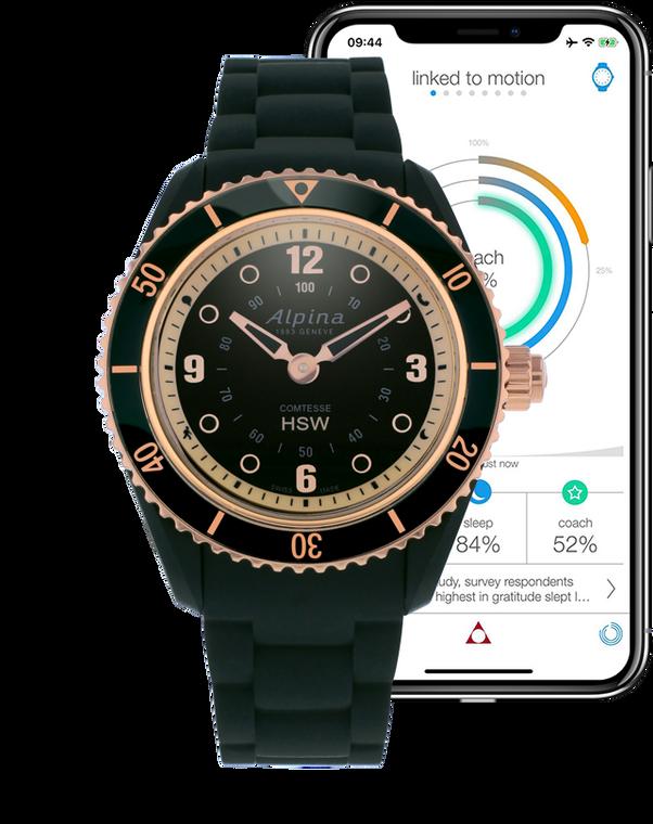 Alpina AL-281BY3V4 Comtesse Ladies Horological Smartwatch Black Dial Metal Bracelet