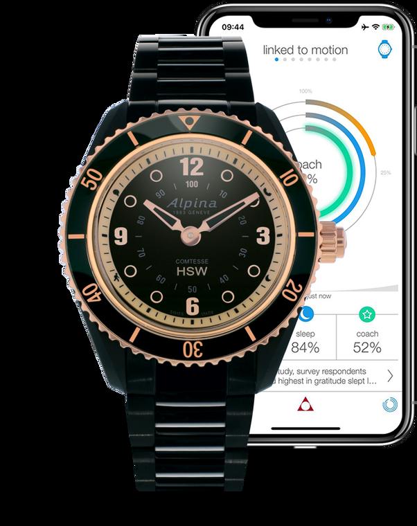 Alpina AL-281BY3V4B Comtesse Ladies Horological Smartwatch Black Dial Metal Bracelet