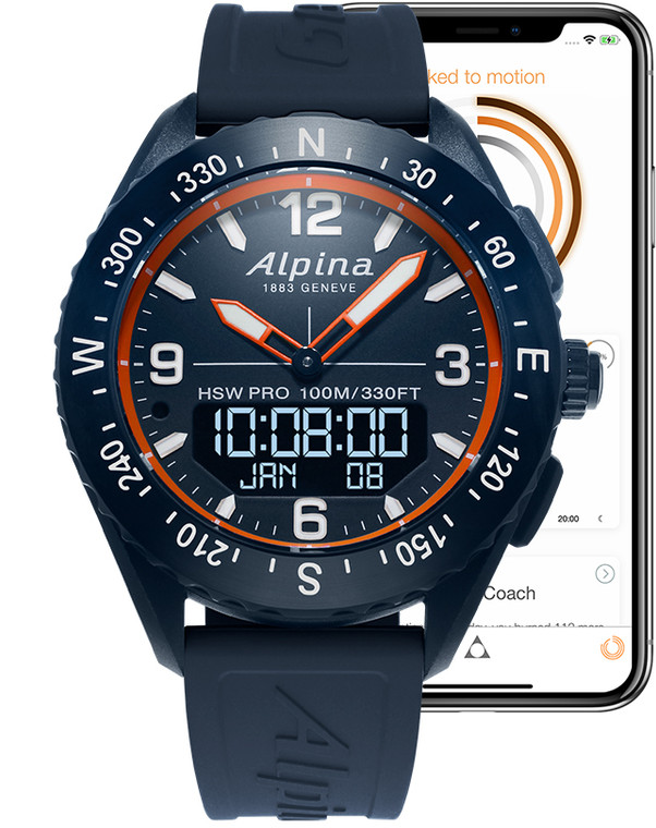 Alpina AL-283LNO5NAQ6 AlpinerX Smartwatch Orange Hands