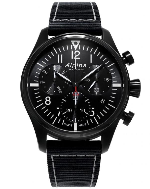 Alpina AL-371BB4FBS6 Startimer Pilot Chronograph Quartz Black Dial