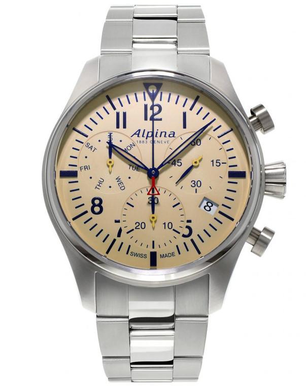 Alpina AL-371BG4S6B Startimer Pilot Chronograph Quartz Off White Dial