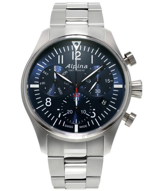Alpina AL-371NN4S6B Startimer Pilot Chronograph Quartz Blue Dial Metal Bracelet