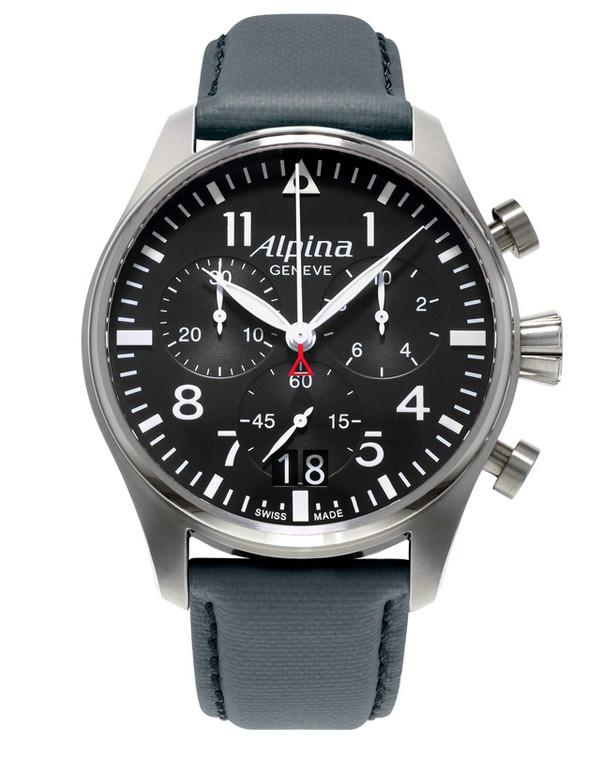 Alpina AL-372B4S6 Startimer Pilot Big Date Chronograph Black Dial
