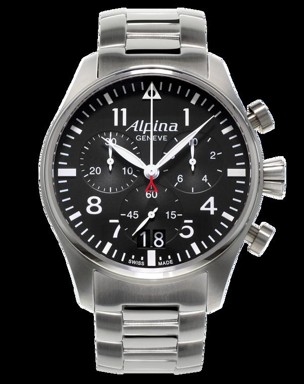 Alpina AL-372B4S6B Startimer Pilot Big Date Chronograph Black Dial Metal Bracelet