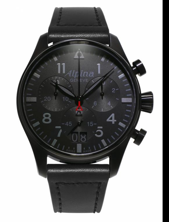 Alpina AL-372BB4FBS6 Startimer Pilot Big Date Chronograph Shadow Line Black Dial