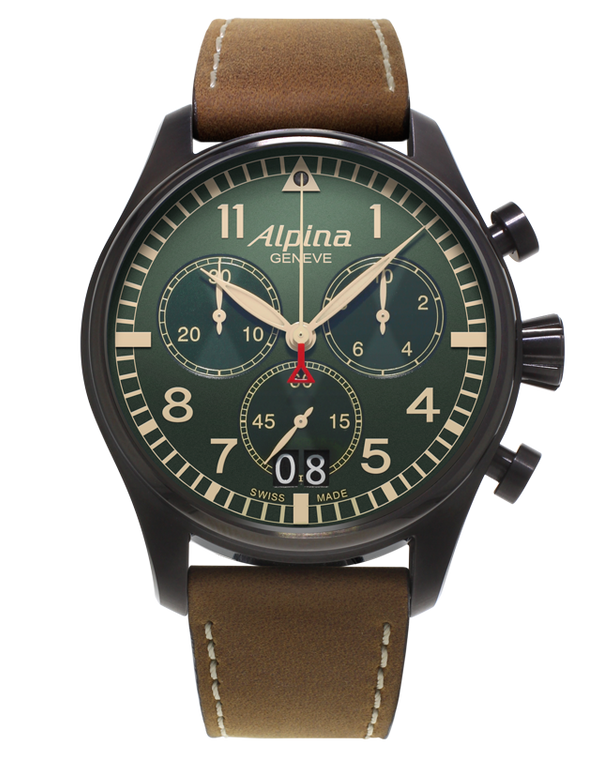 Alpina AL-372GR4FBS6 Startimer Pilot Big Date Military Chronograph Green Dial