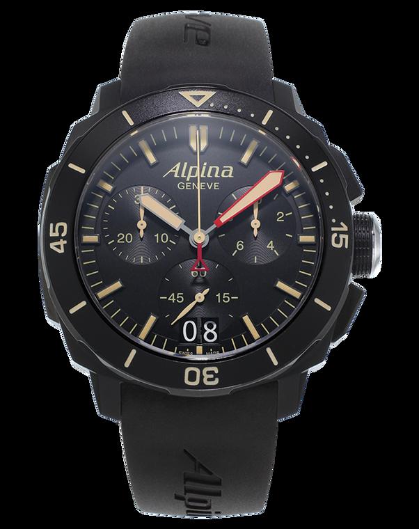 Alpina AL-372LBBG4FBV6 Seastrong Diver 300 Big Date Chronograph Black Dial