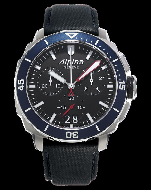 Alpina AL-372LBN4V6 Seastrong Diver 300 Big Date Chronograph Blue Bezel