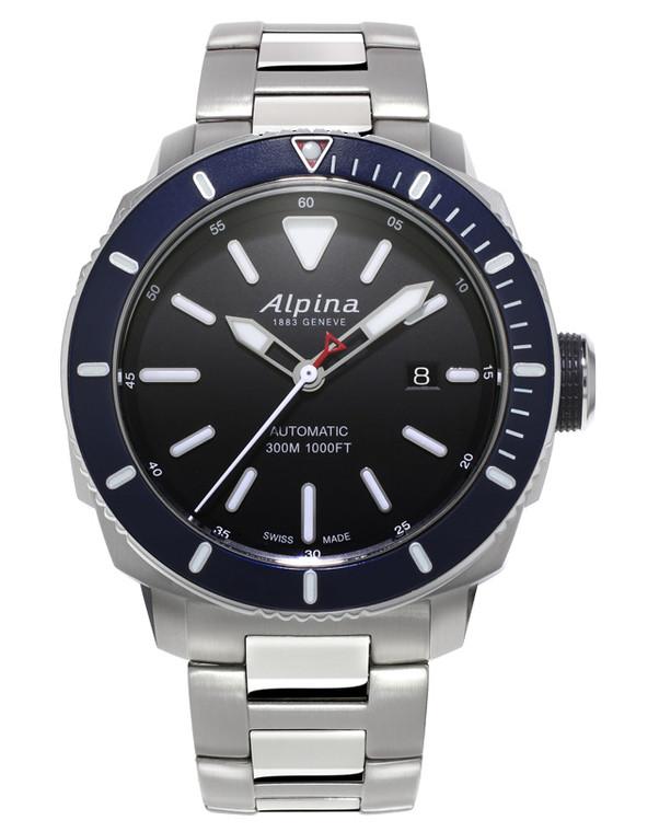 Alpina AL-525LBN4V6B Seastrong Diver 300 Automatic Blue Bezel Metal Bracelet