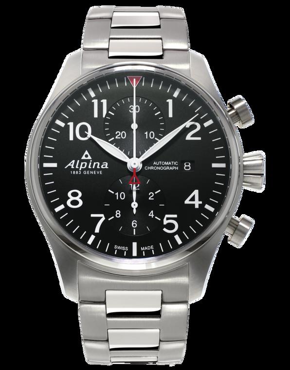 Alpina AL-725B4S6B Startimer Pilot Chronograph Black Dial Metal Bracelet