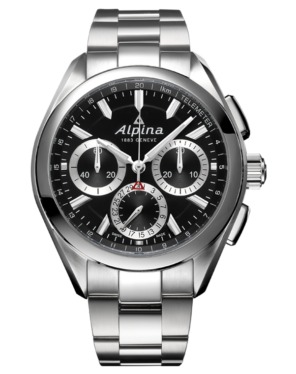 Alpina AL-760BS5AQ6B Alpiner 4 Manufacture Flyback Chronograph Black Dial Metal Bracelet
