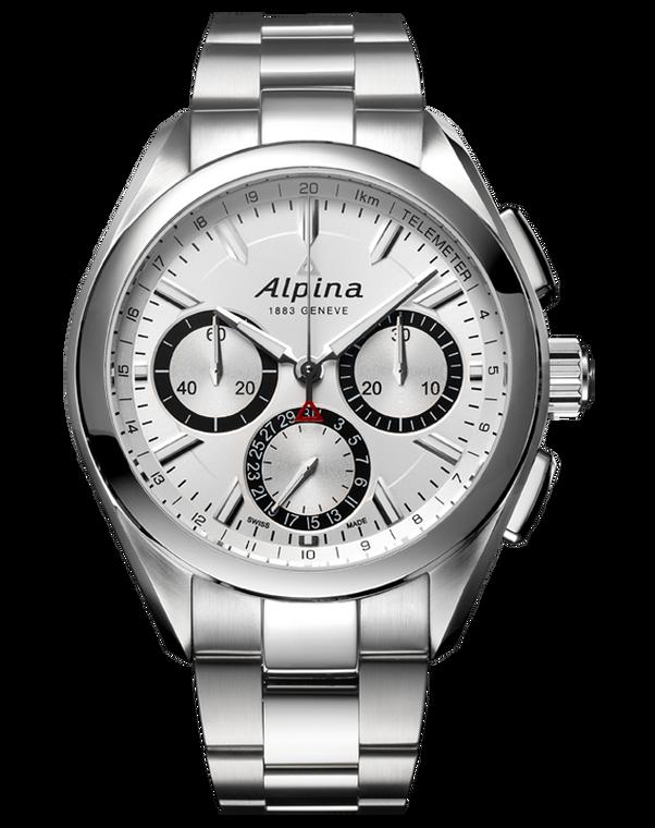 Alpina AL-760SB5AQ6B Alpiner 4 Manufacture Flyback Chronograph White Dial Metal Bracelet