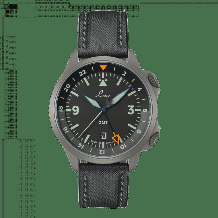 Laco Pilot Watches Special Models FRANKFURT GMT SCHWARZ 862120