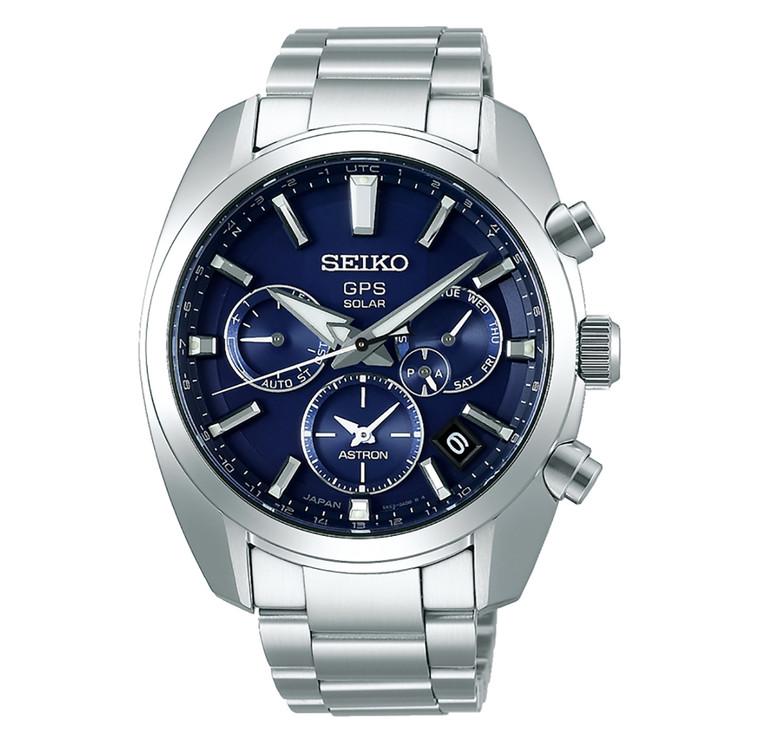 Seiko Astron SSH019 GPS Solar Quartz Dual Time Stainless Steel Blue Dial