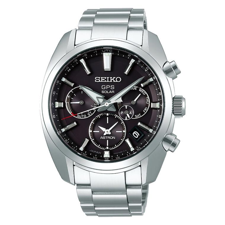 Seiko Astron SSH021 GPS Solar Quartz Dual Time Stainless Steel Black Dial