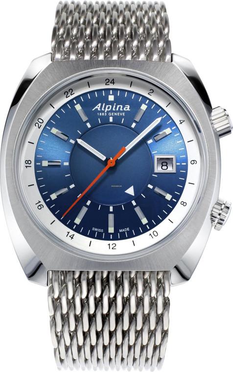 Alpina AL-555LNS4H6B Startimer Pilot Heritage Automatic GMT Stainless Mesh Band