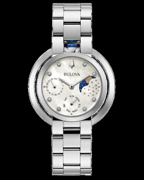 Bulova 96P213 Rubaiyat Goddess of Time Day Date Moonphase Stainless Steel Watch
