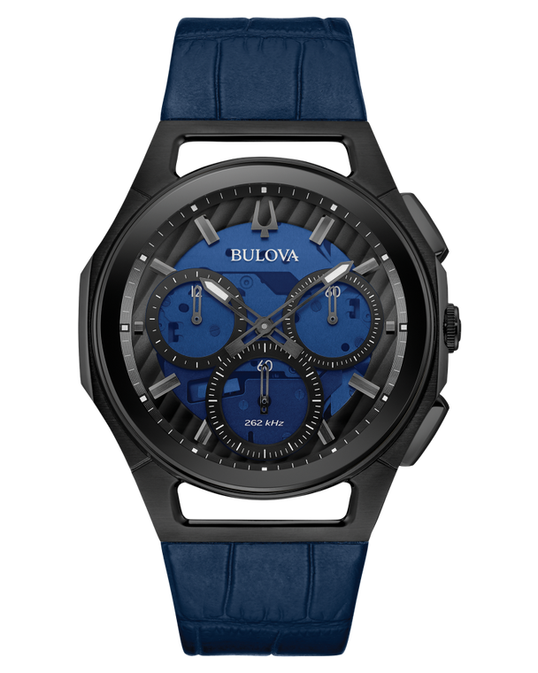 Bulova 98A232 CURV Five Hand Curved Chronograph Blue Dial