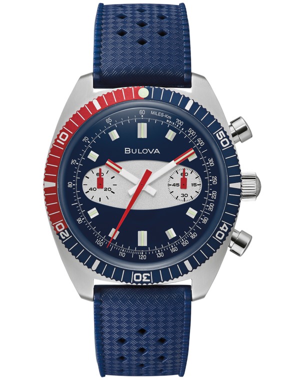 Bulova 98A253 Surfboard Chronograph A Stainless Steel Watch Blue Dial