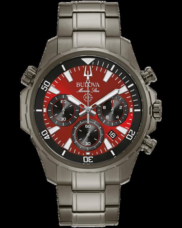 Bulova 98B350 Marine Star Six-Hand Chronograph Red Dial