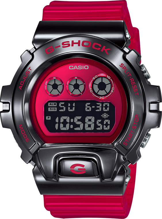 G-Shock GM6900B-4 Stainless Metal Bezel Black and Red 25th Anniversary
