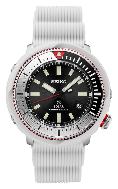 Seiko Prospex SNE545 Solar Tuna Can White Rubber Strap