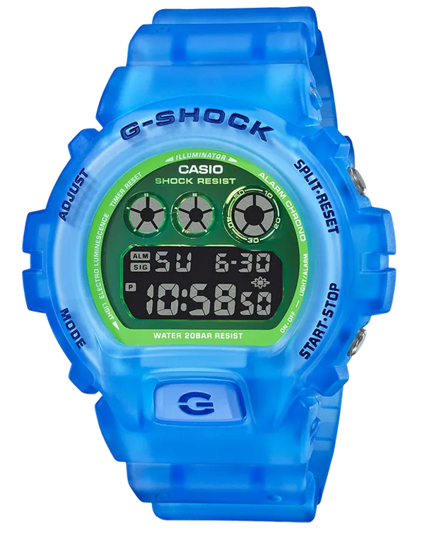Casio G-Shock DW6900LS-2 Semi-Transparent Fluorescent 3-Eye Digital Watch