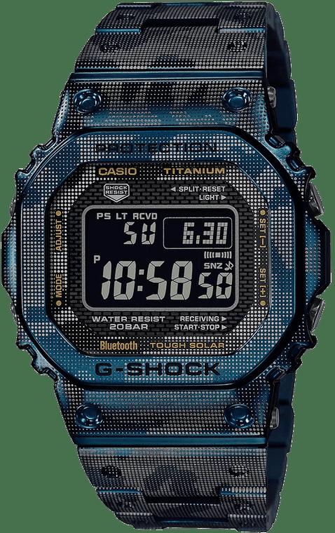 Casio G-Shock GMWB5000TCF-2 Full Metal Titanium Digital Camo Blue Accents