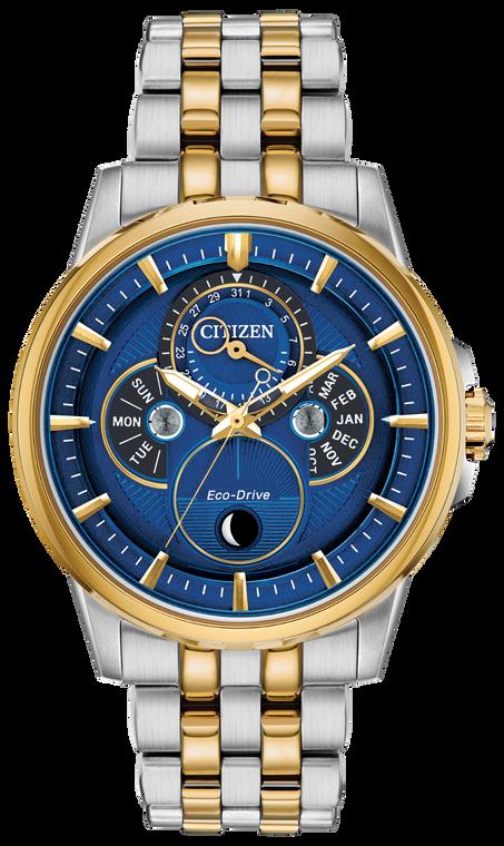 Citizen BU0054-52L Eco-Drive Calendrier Calendar Moonphase Blue Dial