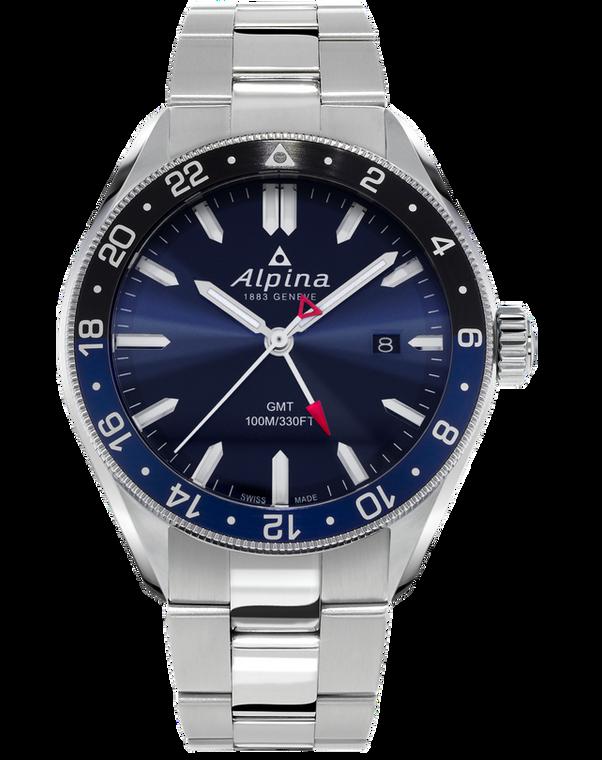 Alpina AL-247NB4E6B Alpiner Quartz GMT Navy Blue on Bracelet