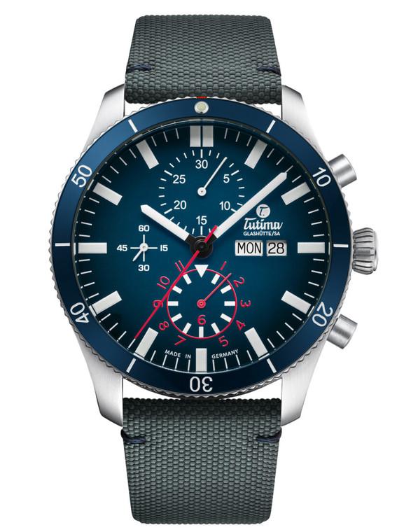 Tutima Glashutte 6406-01 Grand Flieger Airport Chronograph Blue Nylon