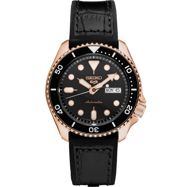 Seiko 5 Sports SRPD76 Automatic Rose Gold on Leather // Pre-Owned