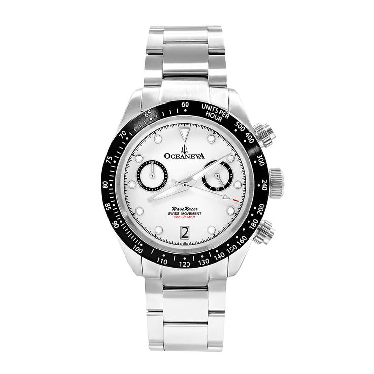 Oceaneva WaveRacer 500m Pro Diver White Dial Panda Chronograph // Pre-Owned