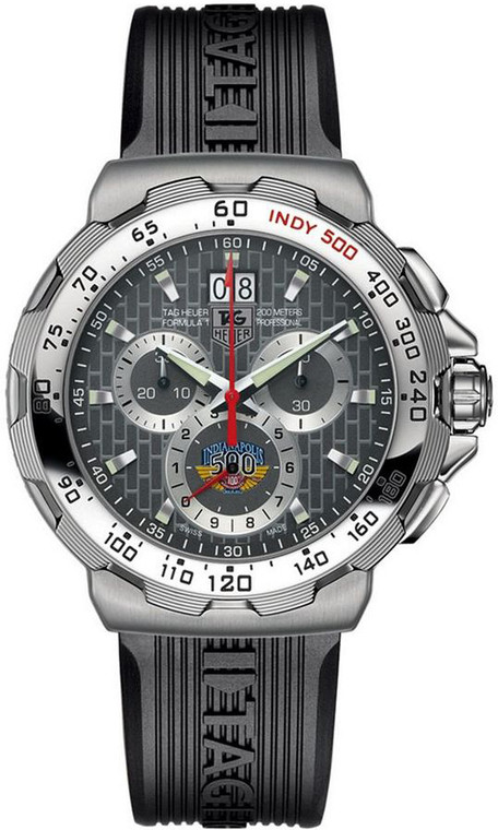Tag Heuer CAH101C.FT6026 Indy 500 Chronograph Stainless Steel Rubber Bracelet // Pre-Owned