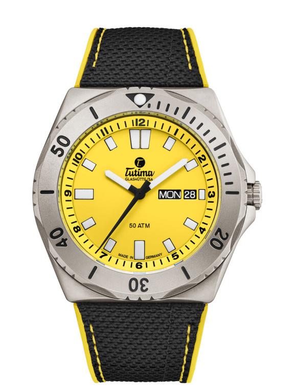 Tutima Glashutte 6151-09 M2 Seven Seas Yellow Dial Cal T 330