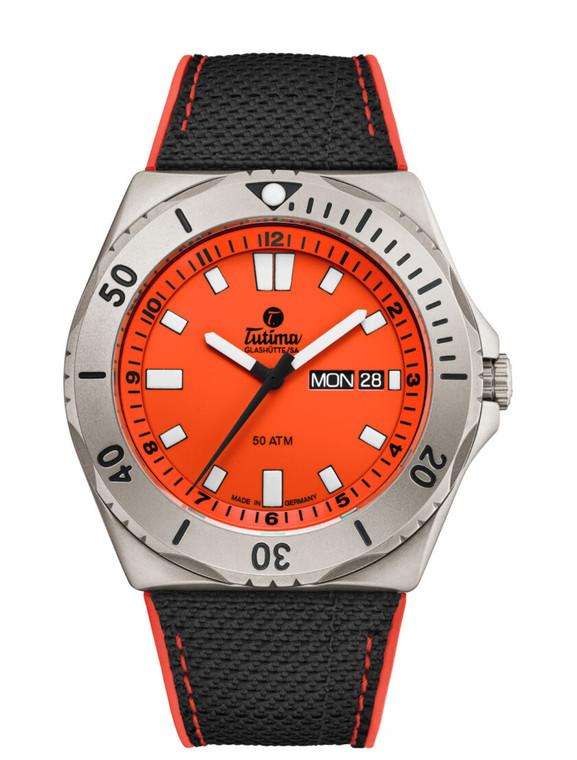 Tutima Glashutte 6151-07 M2 Seven Seas Orange Dial Cal T 330