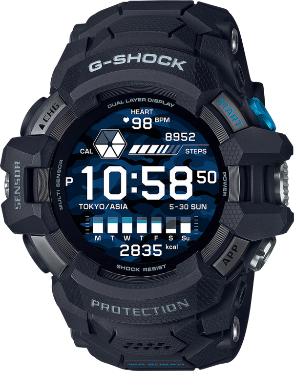 G-Shock GSWH1000-1 GPS Tracking Heart Rate Monitor Google Wear OS Enabled