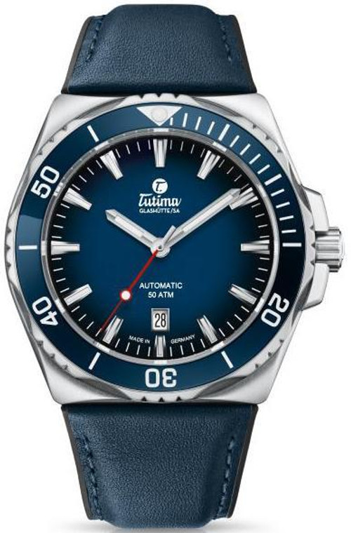 Tutima 6155-03 M2 Seven Seas Stainless Steel 44mm Blue Dial Leather