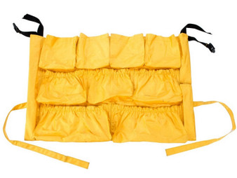 Caddy Bag inMarket that Fits 32, 44, and 55 gallon round receptacles. 13 elasticized roomy pockets of various sizes to accommodateMost cleaning supplies.