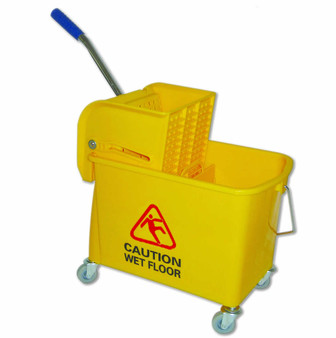 """24 qt. compact, lightweight bucket and side press wringer combo accommodates up to 20 ozMops, and fits into tight spaces for convenient storage. Includes 2"""" non-marking casters and has a removable divider insert that allows clean and dirty water to be separated.  Sides of bucket show large PICTORIAL CAUTION SIGN."""
