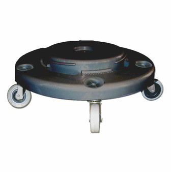 "Dolly for Round Receptacle is ""The twist-on, Twist-off Dolly"" for Round Receptacle converts a stationary Hulk or Huskee or Brute receptacle into aMobile hard working tool. Fits 20, 32, 44, and 55 gallon round receptacles."