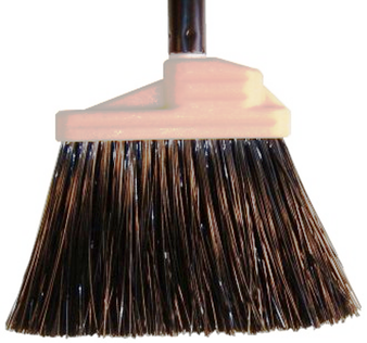 "Lobby Broom w/ Synthetic Bristles has a steel handle and the unflagged filament synthetic bristles are black; gives  an 8""  clean sweep.   Overall broom dimensions: 5""W x 35""H"