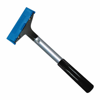 "Window/Floor Scraper with 4"" Blade and Handle has 4"" Angled head Blade & CoverMounted on a aluminum handle, 13"" Overall length. Uses reversible carbon 4"" steel blade"