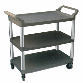 """Large 3 tier bussing cart.  40½"""" x 20"""" x 37½"""" and holds 300 lbs total capacity/ 100 lbs per shelf."""