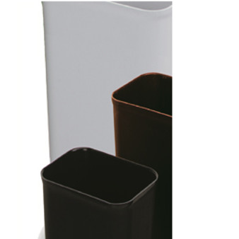 Black, or Brown UL 8 quart fire resistant wastebasket.