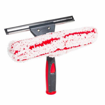Wash&Dry Window Squeegee is a sharp edged Rubber Blade in a Stainless Steel Channel combined with a washable polyester cleaning sleeve for 2 tools in one.
