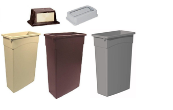 Choose a 23 Gallon No Handle Slim Receptacle in Beige, Brown, or Grey with either a Push Door Lid or a Center Drop Lid.