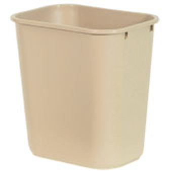 This soft-sided wastebasket comes in a lightweight 2 pounds at each; very durable. Color is  beige. Perfect for offices.  28 quart Soft-Side Wastebasket, USAMade 35 inches high, 15 inches long, 11 inches wide.
