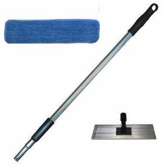 Microfiber Flat Mop Kit with Pole, Frame and Pads