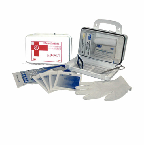 10 Person First Aid Kit including eye wash comes in a strong weather proof case mountable on wall or has a handle for portability.  Meets OSHA requirement. Every workplace-even the janitor's cart should have Click Janitor Supply's refillable 1st Aid Kit. 2 Kit minimum per order.